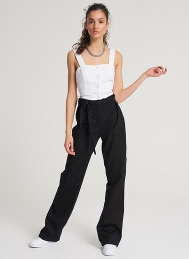 Pi π Bağcıklı Bol Paça Pantolon Siyah